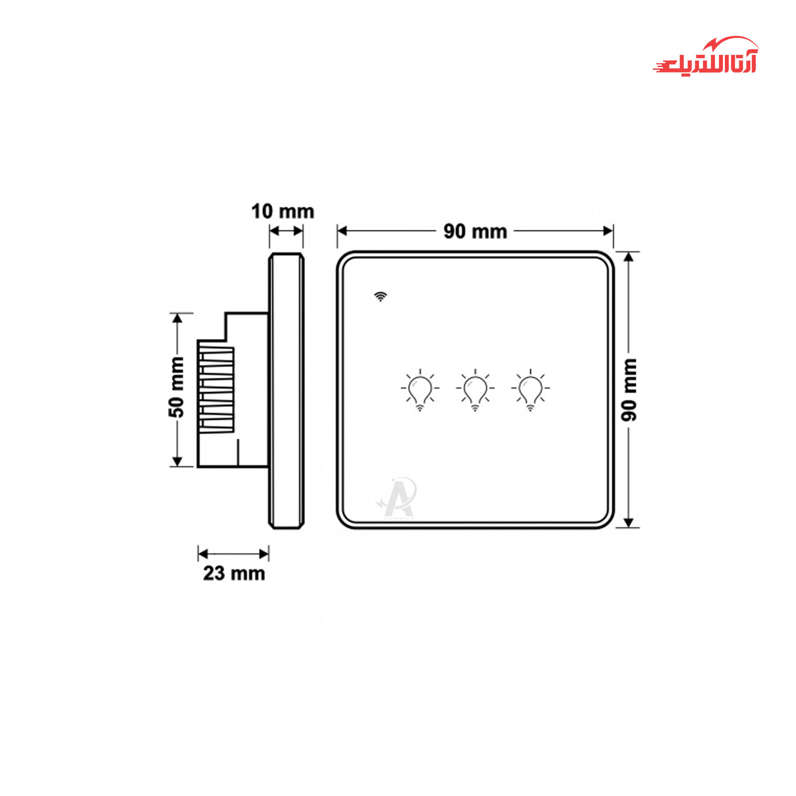 کلید لمسی سه پل هوشمند فاین الکتریک مدل FEC-SW-03